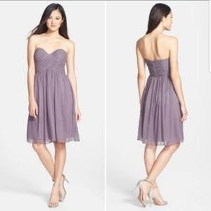 Silk strapless prom bridesmaid dress